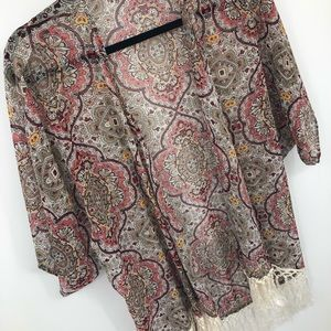 Band of Gypsies Sweaters - Band of Gypsies Lottie & Hollie Kimono S Fringe